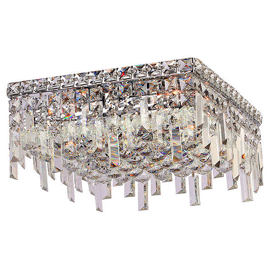 "Cascade Collection 4 Light 7.5"" Square Chrome Finish and Clear Crystal Flush Mount Ceiling Light"