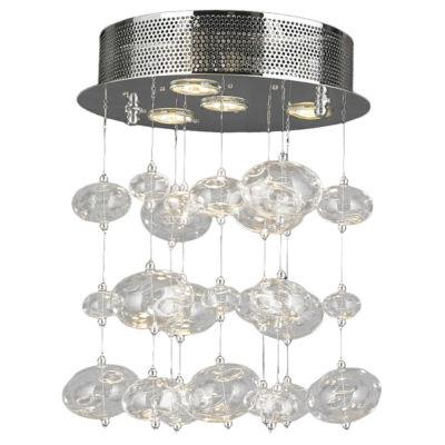 Effervescence Collection 4 Light Halogen Chrome Finish Blown Glass Bubble Flush Mount Ceiling Light