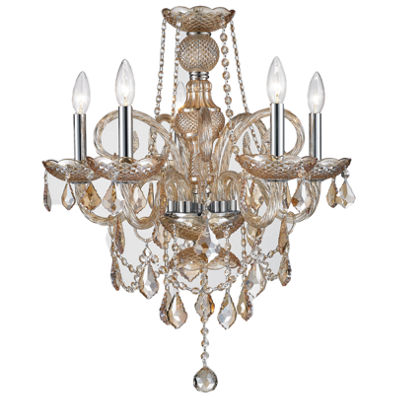 "Provence Collection 5 Light Chrome Finish and Amber Crystal Chandelier 20"" D x 22"" H Medium"