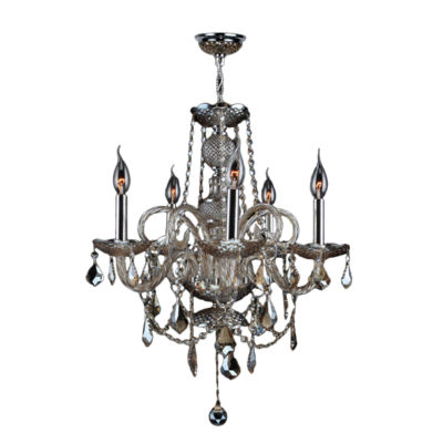"""Provence Collection 5 Light Chrome Finish and Amber Crystal Chandelier 20"""" D x 22"""" H Medium"""