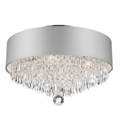 Gatsby Collection 4 Light Chrome Finish Crystal Flush Mount with Acrylic Shade