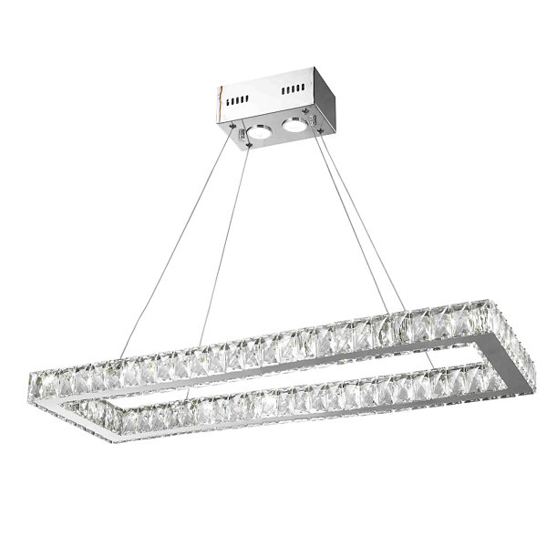 NEW Galaxy 16 LED Light Chrome Finish and Clear Crystal Rectangle Dimmable Chandelier