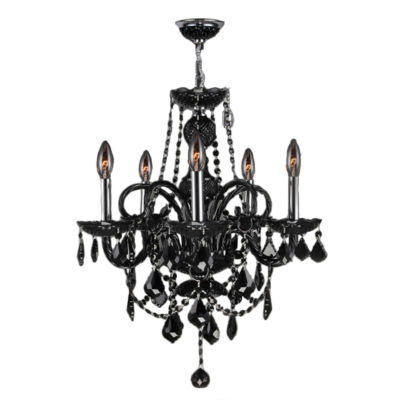 Provence Collection 5 Light Chrome Finish and Black Crystal Chandelier