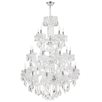 Olde World Collection 23 Light 3-Tier Chrome Finish Crystal Chandelier