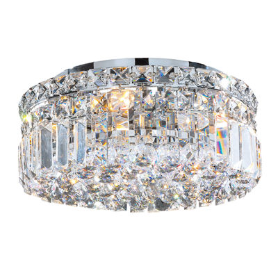 "Cascade Collection 4 Light 5.5"" Round Chrome Finish and Clear Crystal Flush Mount Ceiling Light"""