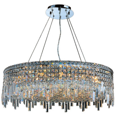 Cascade Collection 18 Light Chrome Finish and Clear Crystal Circle Chandelier