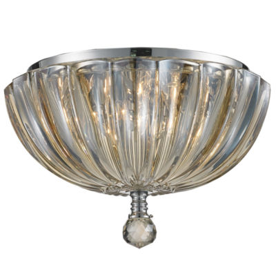 """Mansfield Collection 3 Light  10"""" Chrome Finish and Crystal Bowl Flush Mount Ceiling Light"""