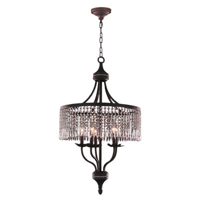 Enfield Collection 5 Light Flemish Brass and ClearCrystal Chandelier