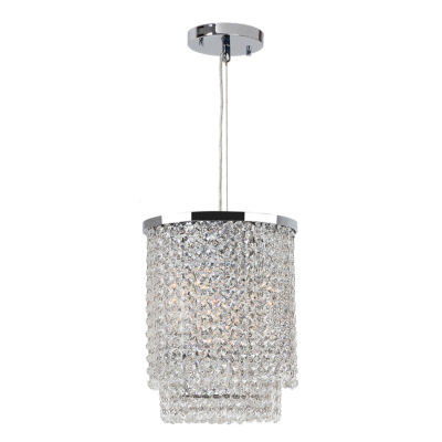 Prism Collection 4 Light Chrome Finish and Clear Crystal Round Pendant