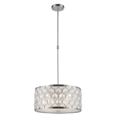 "Paris Collection 4 Light Chrome Finish with ClearCrystal Pendant D16""H8"""