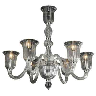 """Murano Collection 6 Light Blown Glass in Clear Finish Venetian Style Chandelier 31"""" """""""