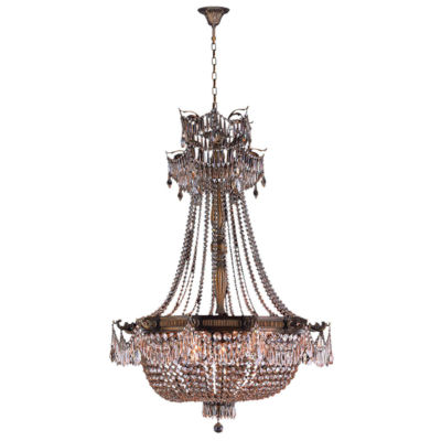Winchester Collection 12 Light Antique Bronze Finish and Clear Crystal Chandelier