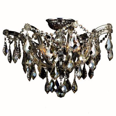 Bayou Collection 6 Light Chrome Finish and GoldenTeak Crystal Semi-Flush Mount Ceiling Light