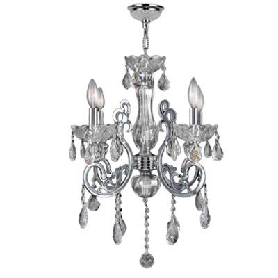 Kronos Collection 4 Light Chrome Finish and Crystal Chandelier
