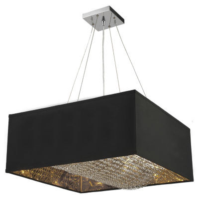 "Ritz Collection 8 Light Matte Silver finish with Black Shade Square Pendant L24"" W24"" H12"""