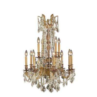 Windsor Collection 12 Light 2-Tier Golden Teak Crystal Chandelier