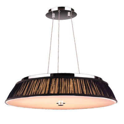"Alice Collection 12 Light LED Chrome Finish with Black String Shade Pendant 24"" D x 4"" H Large"""