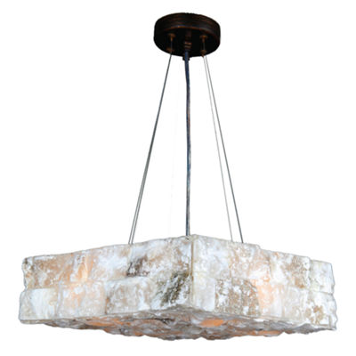 "Pompeii Collection 4 Light Flemish Brass Finish and Natural Quartz Square Pendant 14"" L x 14"" W x 4""H Small"""