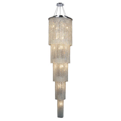 Prism Collection 19 Light Chrome Finish and ClearCrystal Cascading Round Chandelier