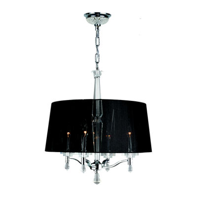 Gatsby Collection 4 Light Chrome Finish and ClearCrystal Chandelier with Black String Drum Shade