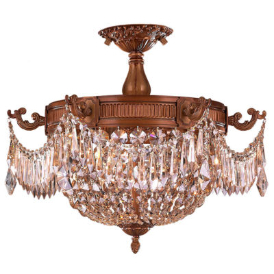 Winchester Collection 3 Light Golden Teak CrystalSemi Flush Mount Ceiling Light