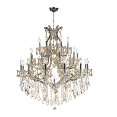 Maria Theresa Collection 28 Light 3-Tier Chrome Finish and Golden Teak Crystal Chandelier