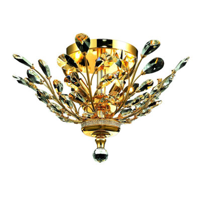 Aspen Collection 4 Light Clear Crystal Floral Semi-Flush Mount Ceiling Light