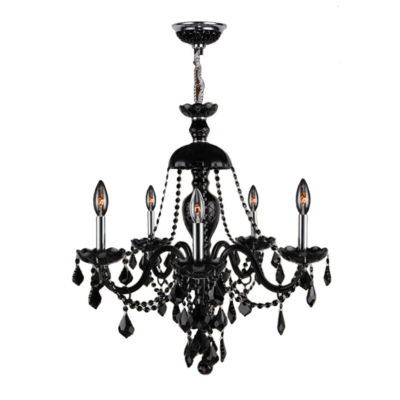Provence Collection 5 Light Chrome Finish and Crystal Chandelier