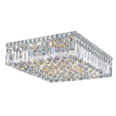 "Cascade Collection 6 Light 5.5"" Square Chrome Finish and Clear Crystal Flush Mount Ceiling Light"""