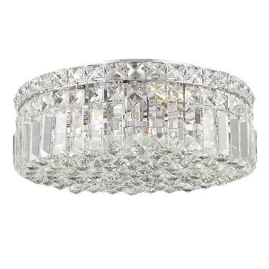 """Cascade Collection 4 Light 5.5"""" Round Chrome Finish and Clear Crystal Flush Mount Ceiling Light"""""""
