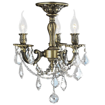 Windsor Collection 3 Light French Pendalogue ClearCrystal Semi Flush Mount Ceiling Light