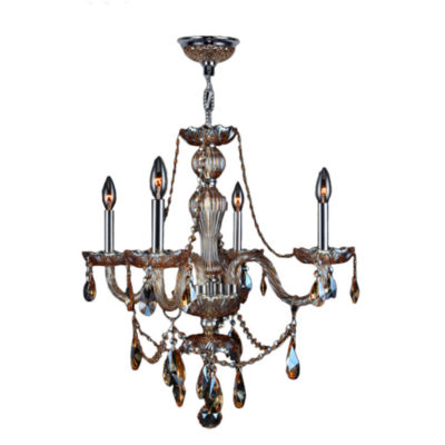 Provence Collection 4 Light Chrome Finish and Crystal Chandelier