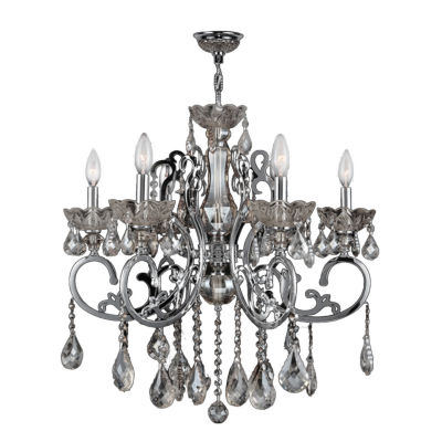 Kronos Collection 6 Light Chrome Finish and Crystal Chandelier