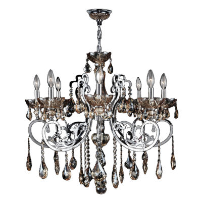 Kronos Collection 8 Light Chrome Finish and GoldenTeak Crystal Chandelier