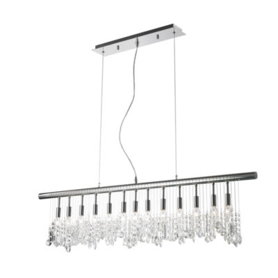 Nadia Collection 13 Light Chrome Finish and ClearCrystal Linear Pendant and Bar Chandelier