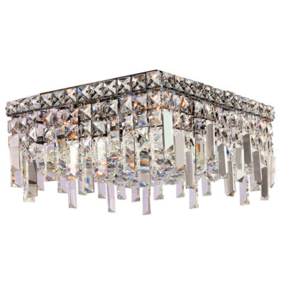 """Cascade Collection 4 Light 7.5"""" Square Chrome Finish and Clear Crystal Flush Mount Ceiling Light"""""""