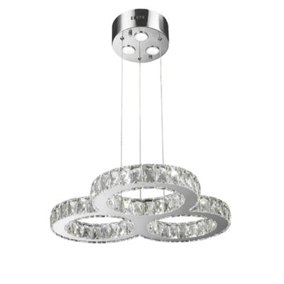 Galaxy 27 LED Light Chrome Finish and Clear Crystal Triple Ring Dimmable Chandelier