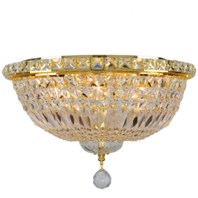 """Empire Collection 6 Light 16"""" Round Clear CrystalFlush Mount Ceiling Light"""""""