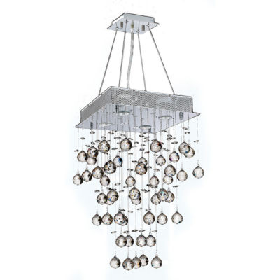 Icicle Collection 4 Light Chrome Finish and ClearCrystal Square Chandelier