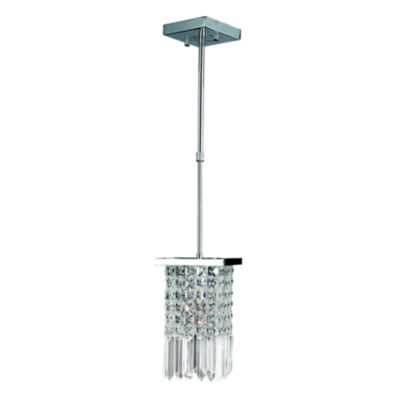 Torrent Collection 1 Light Mini Chrome Finish and Clear Crystal Square Pendant