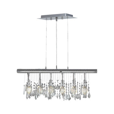 Nadia Collection 6 Light Chrome Finish and Clear Crystal Linear Pendant and Bar Chandelier