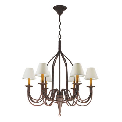 Saratoga Collection 6 Light Flemish Brass Finish and Natural Shades Chandelier