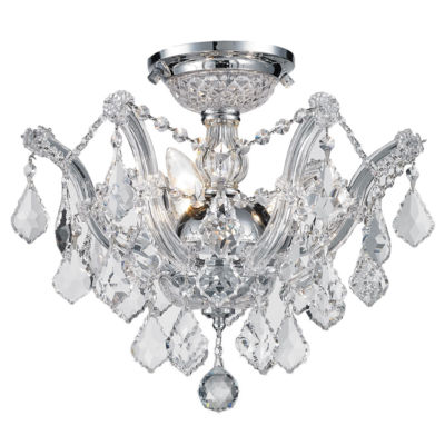 Bayou Collection 3 Light Chrome Finish and Clear Crystal Semi-Flush Mount Ceiling Light