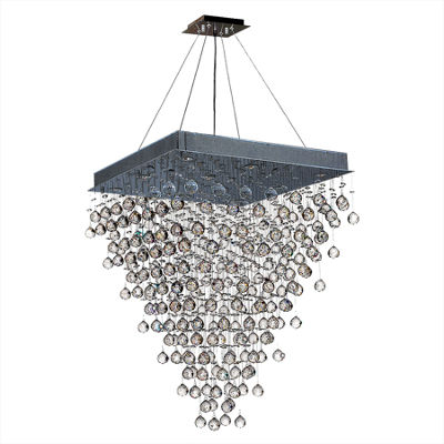 Icicle Collection 8 Light Chrome Finish and ClearCrystal Square Chandelier