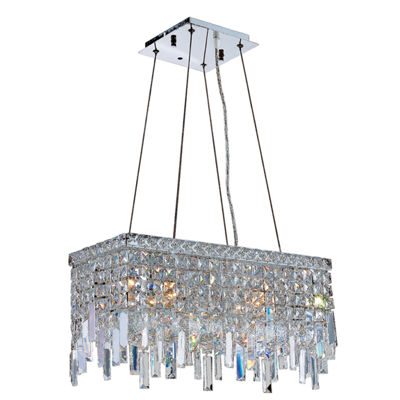 Cascade Collection 4 Light Chrome Finish and ClearCrystal Rectangle Chandelier