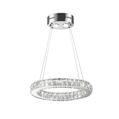 NEW Galaxy 10 LED Light Chrome Finish and Clear Crystal Oval Ring Dimmable Chandelier