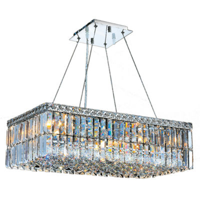 Cascade Collection 6 Light Chrome Finish and ClearCrystal Rectangle Chandelier