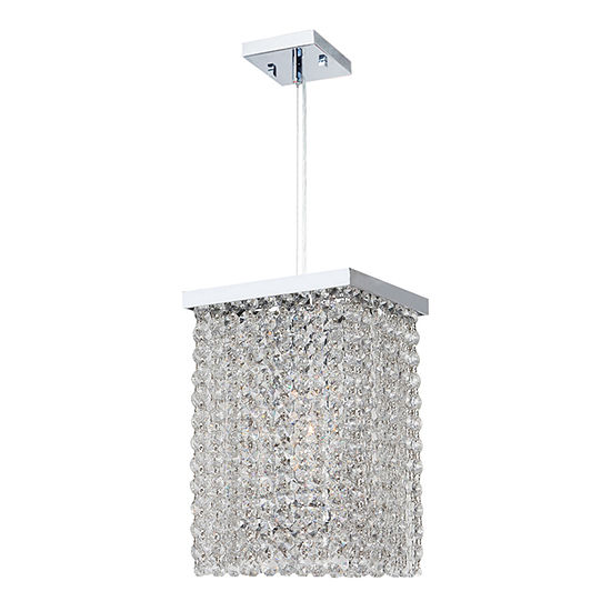 Prism Collection 1 Light Mini Chrome Finish And Clear Crystal Square Pendant