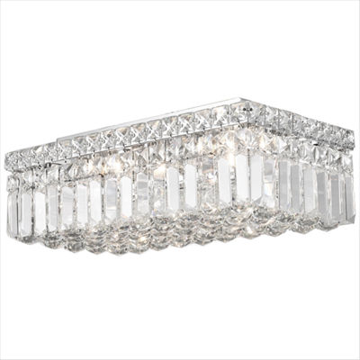 Cascade Collection 4 Light Rectangle Chrome Finishand Clear Crystal Flush Mount Ceiling Light