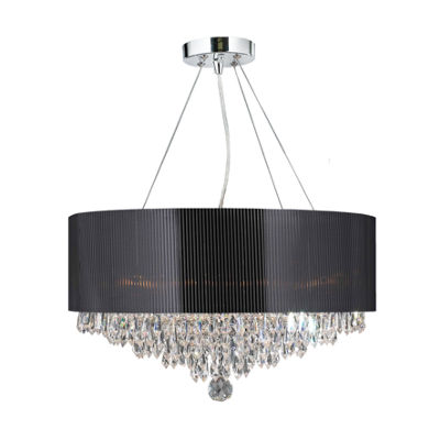 Gatsby Collection 8 Light Chrome Finish and Clear Crystal Chandelier with Black Acrylic Drum Shade